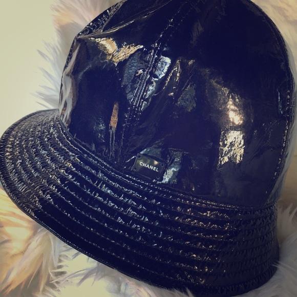 f6ab7c956e0a2a CHANEL Accessories | Black Vinyl Tweed Bucket Hat | Poshmark